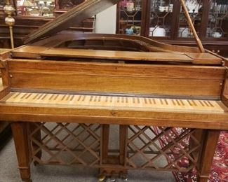 """Piano Bar!!! Original baby grand piano case retrofitted and redesigned as a bar! Interior has been dropped to accommodate glassware...keys replaced for a """"bar surface"""".  Below the keys are racks for wine. A fabulous conversation piece! $2500."""
