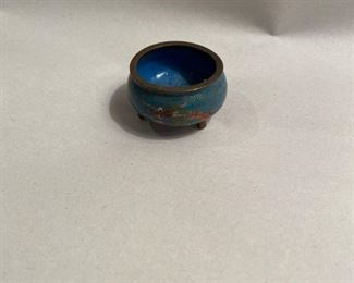 """$15       C103  Cloissone round turquoise dish,  2"""" h, with stand"""