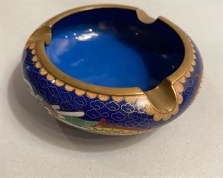 "$15             C108   Cloissone Blue Enamel Ashtray,  3.5"" dia. with stand"