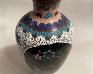 """$20  each.         C101b   Cloisonne White enamel/floral vase  (second vase)  6.5"""" h"""