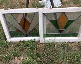 nice pair of stained glass pieces