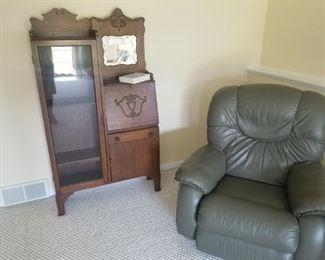 Refinished Antique Larkin Cabinet / Display / Desk and a Lazy-Boy Recliner