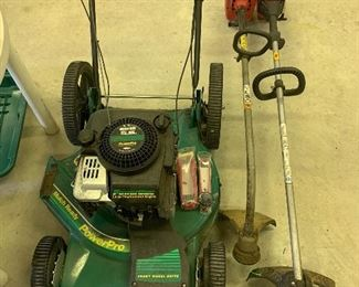 Power pro lawn mower, weed wackers