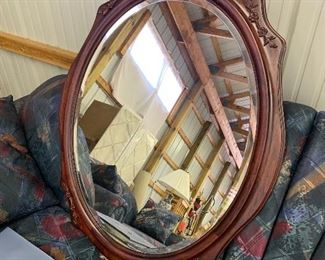 Beveled cherry mirror
