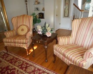 Pair of Wing Back Chairs; Harden side table