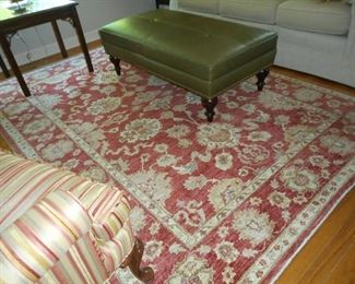 6' X 8' Wool Area Rug; Leather Ottoman from Porters