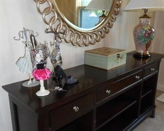 Wynwood Console; Large Round Designer Mirror from Porters