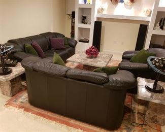 Natuzzi  leather sofa  set - 3  pieces (black)  -  Macys original 4500$; Marble like 3 tables set of 3