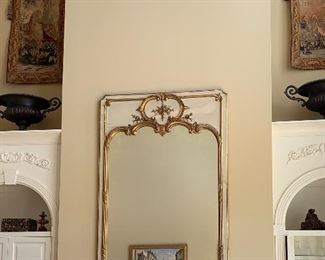 "antique (1850s) French mirror, measures approximately 6' 4"" tall by 4'3"" wide"