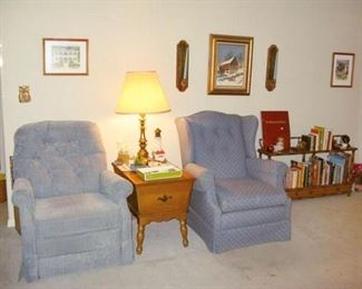 sold: left chair, candle sconces & mid. pic, bookshelf, some smalls & some books