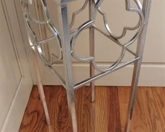 """50% OFF TODAY! Contemporary Silver and Mirror Side Table (2) 12"""" by 28"""" Asking $275.00  for the pair"""