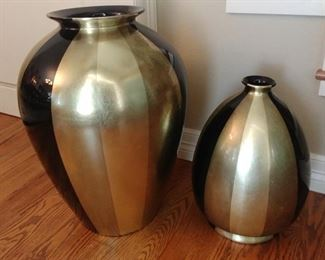 """50% OFF TODAY! Large Pair of Black and Gold Ceramic Vases 15.5"""" by 21.5"""" and 10"""" by 15"""" Asking $395.00 for the pair"""