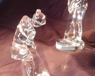"""50% OFF TODAY! Baccarat Golfers Male 3.5"""" by 8.5"""" by 3"""" & Female 5"""" by 9"""" by 3"""" Asking $410.00 for the pair"""