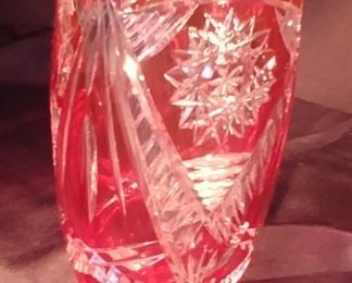 """50% OFF TODAY! Crystal Vase Red Cut Clear 4.75"""" by 8"""" Asking $299.00"""
