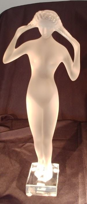 """50% OFF TODAY! Lalique Nude Lady with Arms in the Air 5.75"""" by 14"""" by 2.75"""" Asking $1,250.00"""