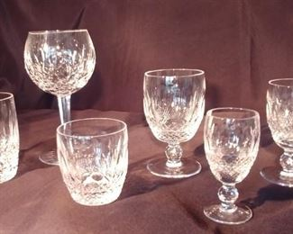 """50% OFF TODAY! Waterford Colleen Glasses Set (12) 7.25"""", (11) 4.5"""", (8) 3.375"""", (8) 5.25"""", (12) 4.75"""", (12) 4.25"""" Asking $3,499.00 for 63 piece set"""