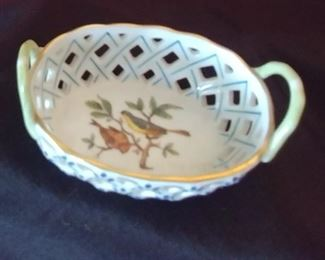 """50% OFF TODAY! Herend Hungary Small China Piece with Handles 3.75"""" by 1.5"""" by 2.375"""" Asking $49.00"""