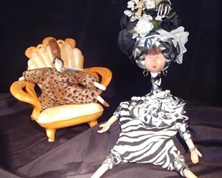 50% OFF TODAY! Pair of Poupee Millet Dolls with Ceramic Chair  'M. Fassel' and 'Serge' Asking $99.00 for the pair
