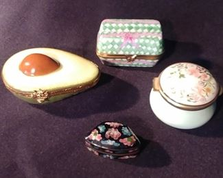 """50% OFF TODAY! Enamel Box Collection: Avocado by Limoge 4.5"""" by 3.5"""", Staffordshire 2.25"""" 1.5"""", Elda Creations Limoge Carton of Eggs, Enamel Box 1.625"""" by .75"""" by 1"""" Asking $199.00 for the Collection"""