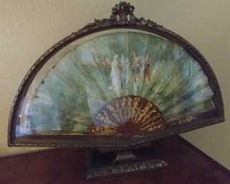 """50% OFF TODAY! 1876 Paper Fan in Ornate Frame Signed by Bellanger 24"""" by 17.5"""" by 5"""" Asking $495.00"""