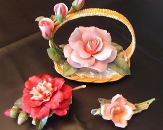 """50% OFF TODAY! Boehm Porcelain Rose Collection: Roses in Basket 9"""" by 8"""" by 6.25"""", Cherries Jubilee 7.25"""" by 3.5"""" by 4.5"""", Pink Rose 6"""" by 3"""" by 3"""" Asking $135.00 for the Collection. Little damage on the Roses in Basket, all broken piece present."""