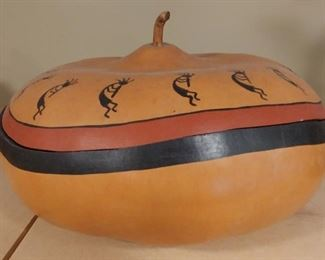 """50% OFF TODAY! Hand Painted Gourd with Lid 12"""" by 8"""" Asking $199.00"""