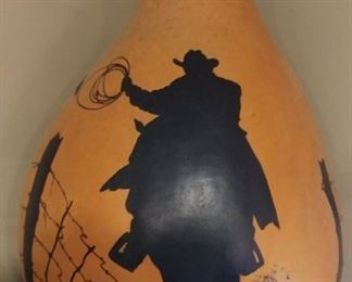 """50% OFF TODAY! Hand Painted Gourd with Cowboy Scene 10"""" by 14"""" Asking $199.00"""