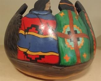 """50% OFF TODAY! Hand Painted and Carved Gourd Signed by Vona 10.5"""" by 8"""" Asking $250.00"""
