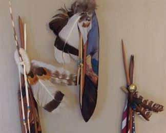"""50% OFF TODAY! Native American Carved Wood Feathers by Oklahoma Artist Frazier 19"""" each Asking $175.00 for the set"""