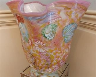 """50% OFF TODAY! Chihuly Style Glass Sculpture Pink and MultiColors 17"""" by 16"""" by 11' Asking $499.00"""