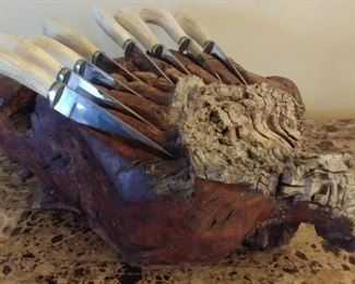 """50% OFF TODAY! Knife Set with Burl Wood Sculpture 17.5"""" by 14"""" by 7"""" Asking $1,120.00"""