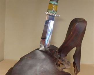 """50% OFF TODAY! Eagle Knife and Wood Sculpture 10.5"""" by 17"""" by 8"""" Asking $1,250.00"""