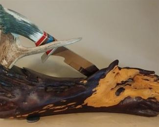 """50% OFF TODAY! Knife with Carved Eagle Handle, Horn and Wood Sculpture 10.5"""" by 17"""" by 10"""" Asking $1,250.00"""