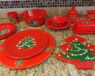 50% OFF TODAY! Waechtersbach W Germany Christmas Dish Set 65 Piece Set: (12) Chargers, (17) Dinner Plates, (12) Bowls, (12) Mugs, (2) Trivets, (1) Lrg Bowl, Cream & Sugar with Serving Plate, Cover Butter Dish, (2) Pie Plates, (2) Sm Bowls, (1) Extra Lrg Bowl and 2 Matching Cloth Napkin Holders Asking $850.00