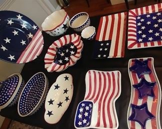 50% OFF TODAY! Independence Day Serving Set: Boston Warehouse Trading Corp., Gates Ware, Bazaar World Inc. Boleslawio Hand Made in Poland 15 Piece Set Asking $375.00 for the set