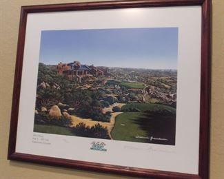 """50% OFF TODAY! 18th Hole Desert Mountain Singed Print by William Grandison Non Glare Glass 24"""" by 20"""" Asking $275.00"""