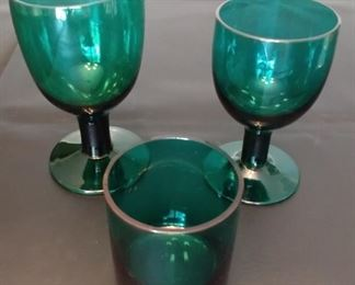 50% OFF TODAY! Green Glass Set (24) Piece (8) of Each Asking $145.00