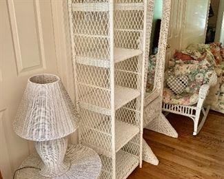 Wicker set: lamp, table, shelf, mirror and rocker