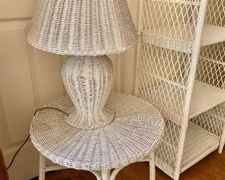 $60 for lamp and $50 for table; Wicker lamp and table