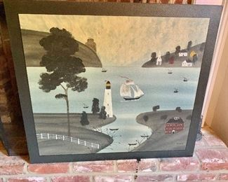 """$450 Hope R. Angier Folk Painting: Maine artist; Signed """"Angler"""" Nautical scene painting 30"""" High by 34"""" Wide"""