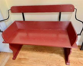 "$150 Festive, painted bench. 39"" W, 32"" H, 17"" D."