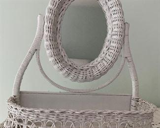 """$30 Wicker mirror/basket. 16"""" H,  14"""" W, 6"""" D."""