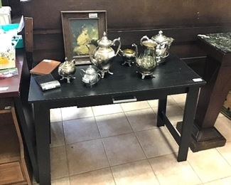 Couch table  and silverplate