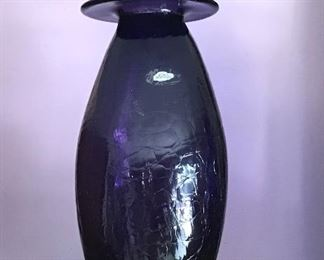 "Blenko 13"" Crackle Glass Amethyst Color Vase."