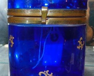 Cobalt Lidded Casket Jar 1b