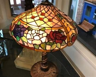 Stained glass lamp. Estimate $450 BID $100
