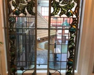 """2-Stained glass windows 75"""" H x 18"""" W Est $800 Bid $200"""