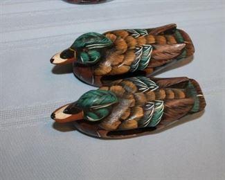 vintage hand carved ducks