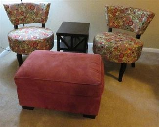 Chairs, side table, ottoman