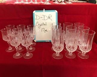 D-DR-6  $50   Cristal  D'arques Longchamp 9-Iced Tea & 8 Wine/Water Goblets